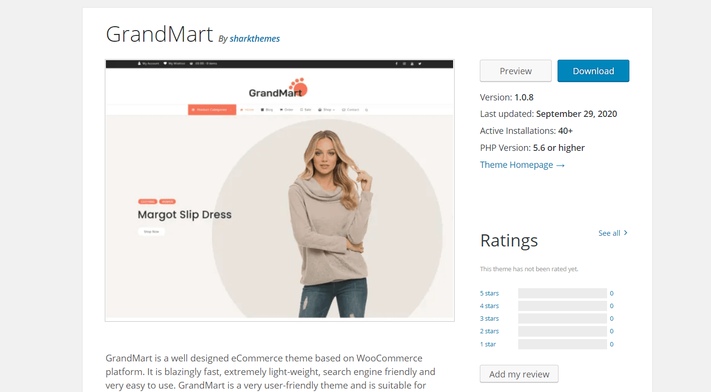 Бесплатный шаблон GrandMart