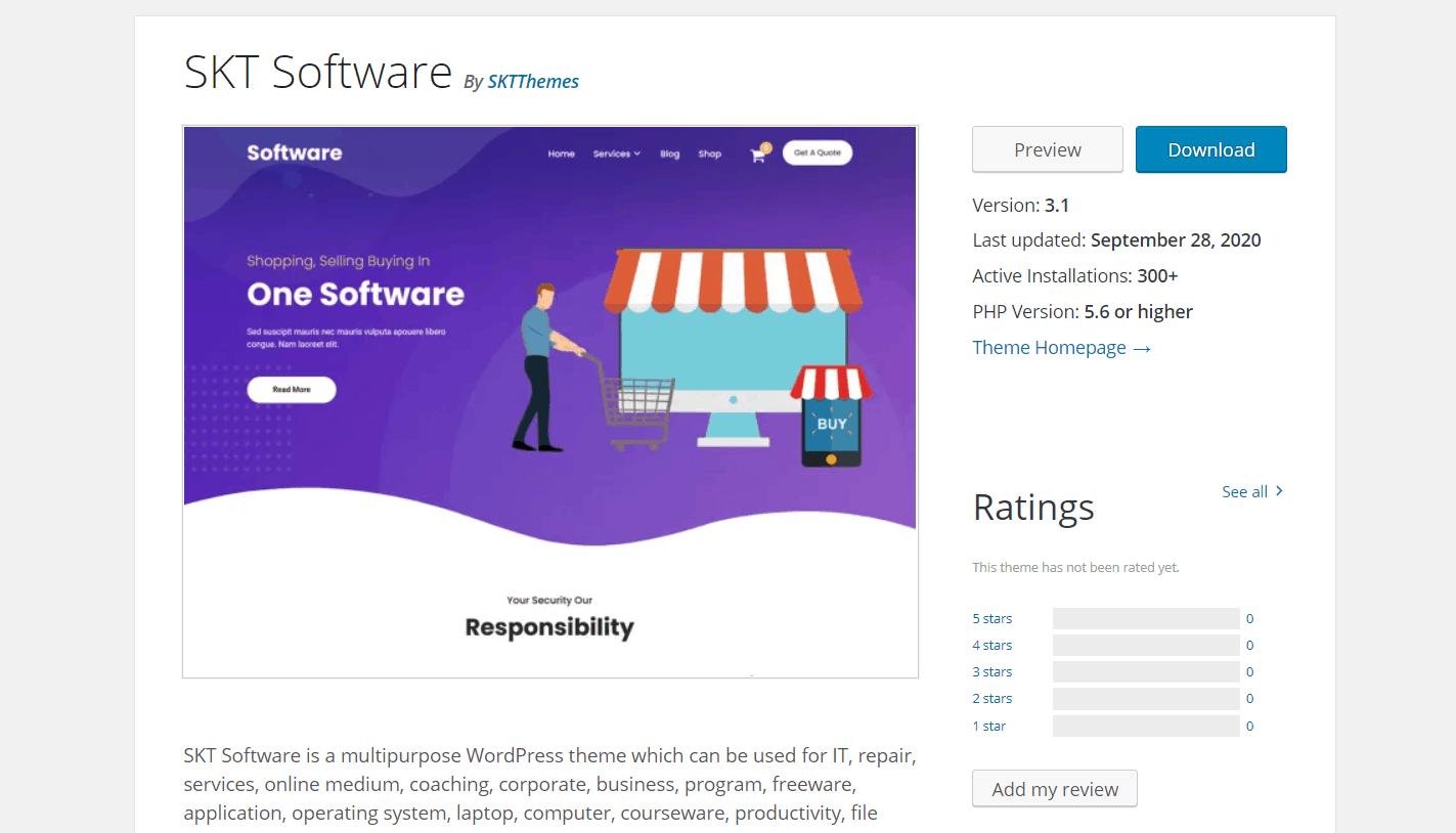 Бесплатный шаблон для интернет-магазина SKT Software