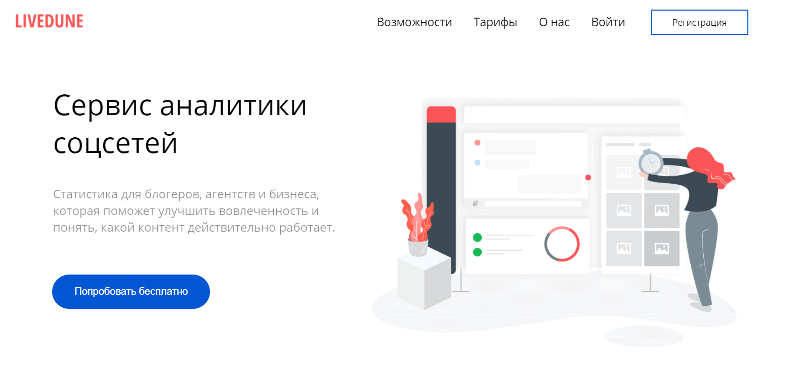 Сервис LiveDune для анализа конкурентов