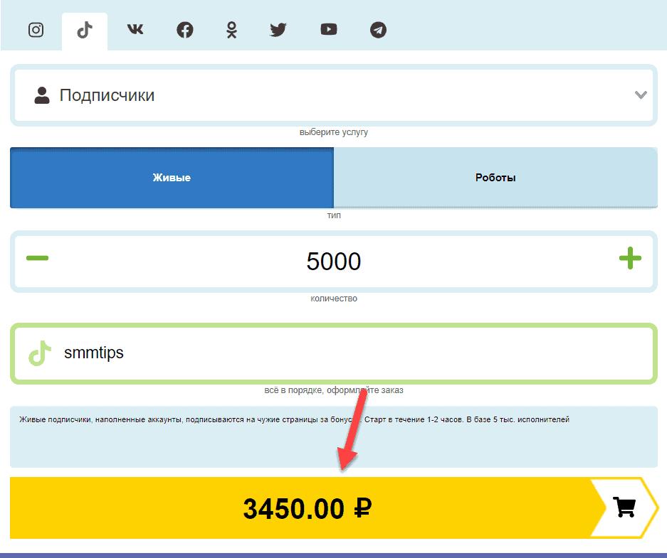Оплата заказа на Лайкмании