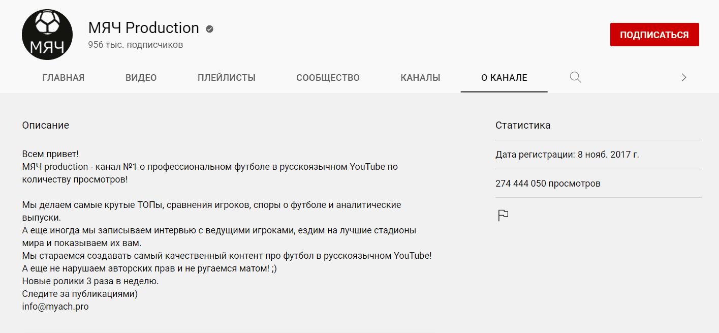 YouTube-канал МЯЧ Production